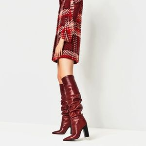ZARA AW16 Over the Knee Red Leather Boots